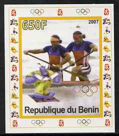 Benin 2007 Rowing #04 individual imperf deluxe sheet with Olympic Rings & Disney Character unmounted mint