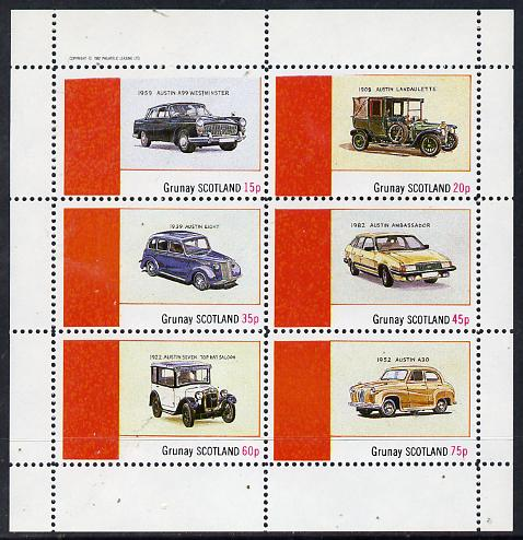 Grunay 1982 Austin Cars (A99, Ambassador, 8 etc) perf set of 6 values (15p to 75p) unmounted mint