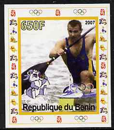 Benin 2007 Rowing #06 individual imperf deluxe sheet with Olympic Rings & Disney Character unmounted mint