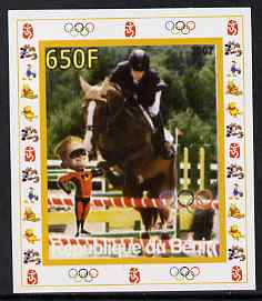 Benin 2007 Equestrian #01 individual imperf deluxe sheet with Olympic Rings & Disney Character unmounted mint