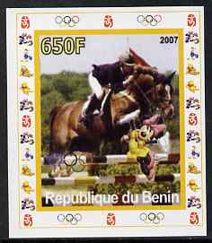 Benin 2007 Equestrian #04 individual imperf deluxe sheet with Olympic Rings & Disney Character unmounted mint