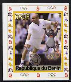 Benin 2007 Tennis #02 - Andre Agassi individual imperf deluxe sheet with Olympic Rings & Disney Character unmounted mint