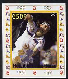 Benin 2007 Tennis #03 - Pat Cash individual imperf deluxe sheet with Olympic Rings & Disney Character unmounted mint