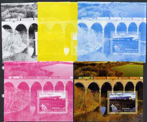 Somalia 2006 Modern Trains #2 souvenir sheet with Scout Logo, the set of 5 imperf progressive proofs comprising the 4 individual colours plus all 4-colour composite, unmounted mint