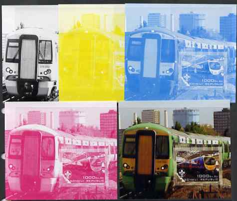 Somalia 2006 Modern Trains #4 souvenir sheet with Scout Logo, the set of 5 imperf progressive proofs comprising the 4 individual colours plus all 4-colour composite, unmounted mint
