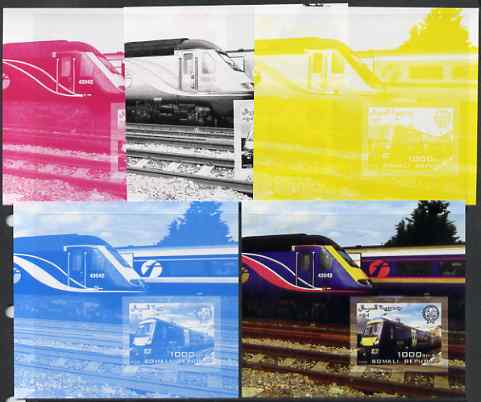 Somalia 2006 Modern Trains #3 souvenir sheet with Scout Logo, the set of 5 imperf progressive proofs comprising the 4 individual colours plus all 4-colour composite, unmounted mint