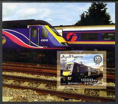 Somalia 2006 Modern Trains #3 imperf souvenir sheet with Scout Logo unmounted mint. Note this item is privately produced and is offered purely on its thematic appeal