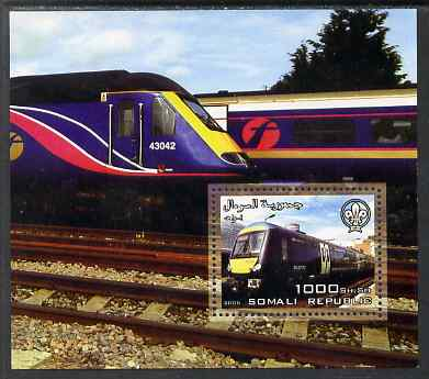 Somalia 2006 Modern Trains #3 perf souvenir sheet with Scout Logo unmounted mint