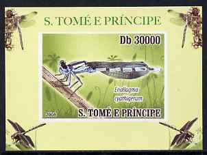 St Thomas & Prince Islands 2009 Dragonflies #1 individual imperf deluxe sheet unmounted mint. Note this item is privately produced and is offered purely on its thematic appeal