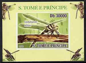 St Thomas & Prince Islands 2009 Dragonflies #3 individual imperf deluxe sheet unmounted mint. Note this item is privately produced and is offered purely on its thematic appeal