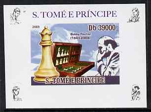St Thomas & Prince Islands 2009 Chess Grand Masters #1 - Bobby Fischer individual imperf deluxe sheet unmounted mint. Note this item is privately produced and is offered purely on its thematic appeal