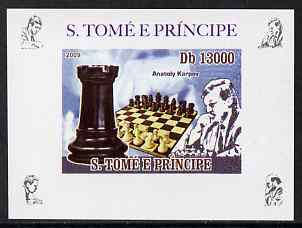 St Thomas & Prince Islands 2009 Chess Grand Masters #2 - Anatoly Karpov individual imperf deluxe sheet unmounted mint. Note this item is privately produced and is offered purely on its thematic appeal