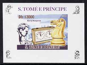 St Thomas & Prince Islands 2009 Chess Grand Masters #4 - Garry Kasparov individual imperf deluxe sheet unmounted mint. Note this item is privately produced and is offered purely on its thematic appeal