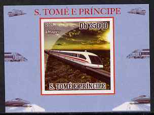 St Thomas & Prince Islands 2009 Modern Trains #1 - Maglev individual imperf deluxe sheet unmounted mint. Note this item is privately produced and is offered purely on its thematic appeal