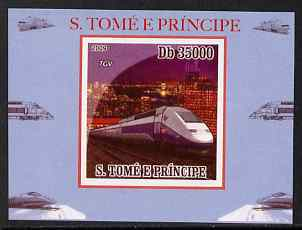 St Thomas & Prince Islands 2009 Modern Trains #3 - TGV individual imperf deluxe sheet unmounted mint. Note this item is privately produced and is offered purely on its thematic appeal