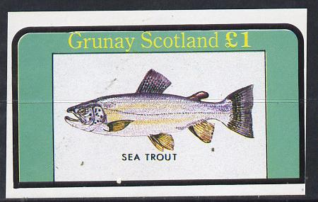 Grunay 1982 Fish (Sea Trout) imperf souvenir sheet (�1 value) unmounted mint