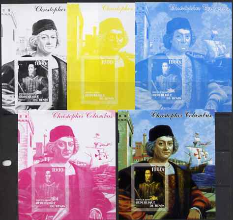 Benin 2006 Christopher Columbus #1 m/sheet, the set of 5 imperf progressive proofs comprising the 4 individual colours plus all 4-colour composite, unmounted mint