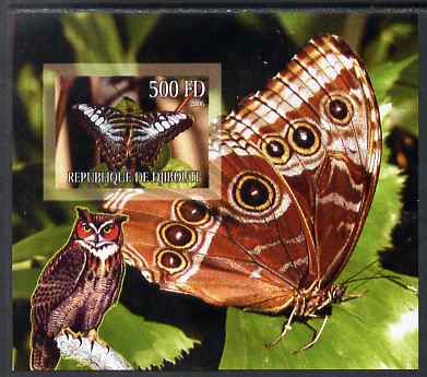Djibouti 2006 Owl & Butterfly #2 imperf m/sheet unmounted mint. Note this item is privately produced and is offered purely on its thematic appeal
