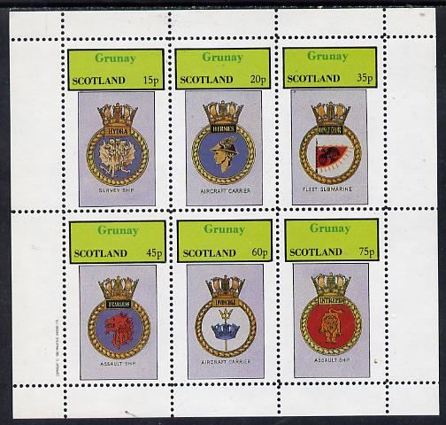 Grunay 1982 Ships Crests #2 (Survey Ship, Assault Ship, Carrier etc) perf set of 6 values (15p to 75p) unmounted mint