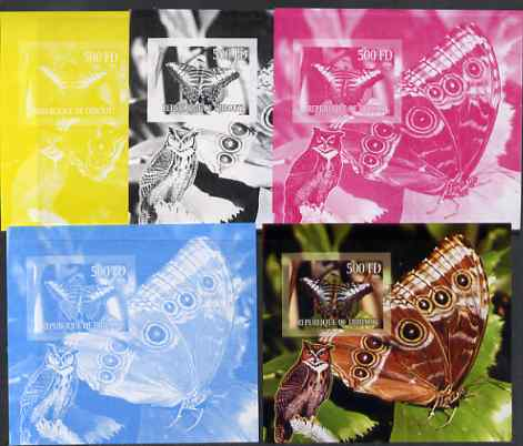 Djibouti 2006 Owl & Butterfly #2 m/sheet, the set of 5 imperf progressive proofs comprising the 4 individual colours plus all 4-colour composite, unmounted mint