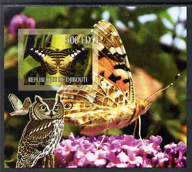 Djibouti 2006 Owl & Butterfly #4 imperf m/sheet unmounted mint. Note this item is privately produced and is offered purely on its thematic appeal