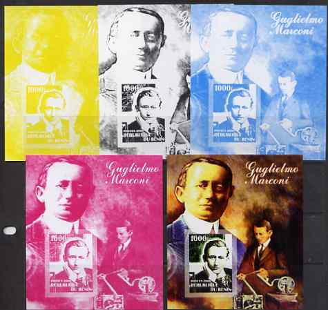 Benin 2006 Guglielmo Marconi #1 m/sheet, the set of 5 imperf progressive proofs comprising the 4 individual colours plus all 4-colour composite, unmounted mint