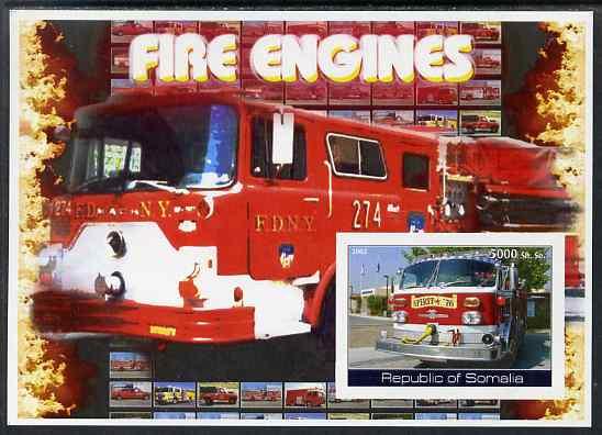Somalia 2002 Fire Engines #2 imperf s/sheet unmounted mint (light crease on corner)