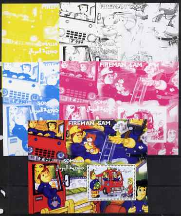 Somalia 2001 Fireman Sam #2 s/sheet, the set of 4 imperf progressive proofs (the 4 individual colours) plus all 4-colour composte (perf) unmounted mint