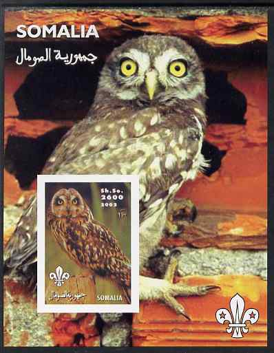 Somalia 2002 Owls #1 imperf s/sheet with Scouts Logo, unmounted mint. Note this item is privately produced and is offered purely on its thematic appeal