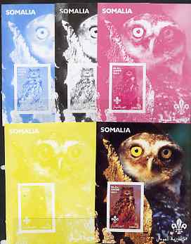Somalia 2002 Owls #3 s/sheet with Scouts Logo, the set of 5 imperf progressive proofs comprising the 4 individual colours plus all 4-colour composite, unmounted mint