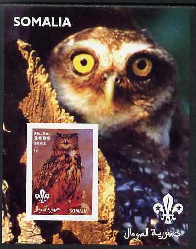 Somalia 2002 Owls #3 imperf s/sheet with Scouts Logo, unmounted mint