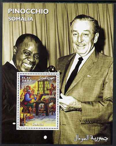 Somalia 2001 Pinocchio & Walt Disney #8 perf s/sheet with Louis Armstrong unmounted mint