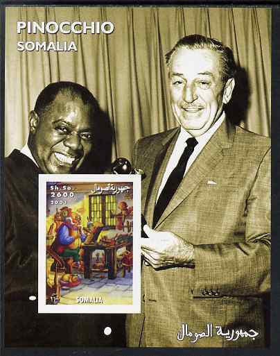 Somalia 2001 Pinocchio & Walt Disney #8 imperf s/sheet with Louis Armstrong unmounted mint. Note this item is privately produced and is offered purely on its thematic appeal