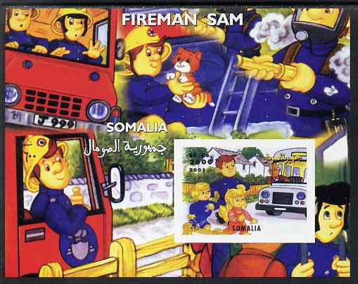 Somalia 2001 Fireman Sam #1 imperf s/sheet unmounted mint. Note this item is privately produced and is offered purely on its thematic appeal, stamps on fire