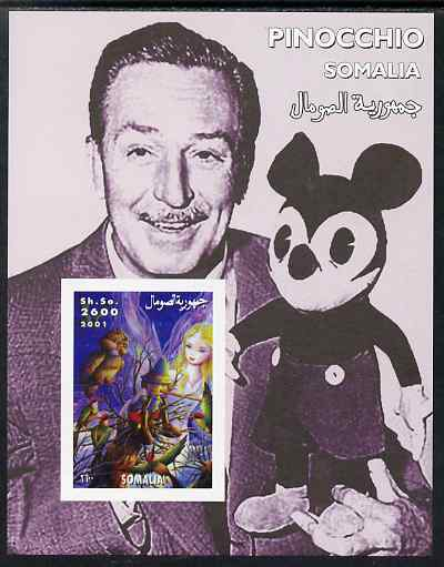Somalia 2001 Pinocchio & Walt Disney #3 imperf s/sheet, unmounted mint