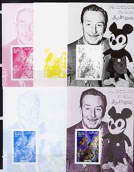 Somalia 2001 Pinocchio & Walt Disney #3 s/sheet, the set of 5 imperf progressive proofs comprising the 4 individual colours plus all 4-colour composite, unmounted mint