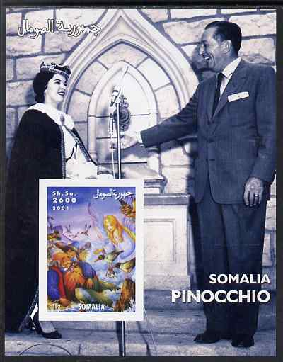 Somalia 2001 Pinocchio & Walt Disney #2 imperf s/sheet, unmounted mint. Note this item is privately produced and is offered purely on its thematic appeal
