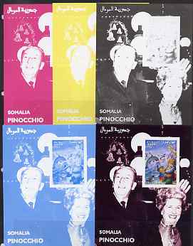 Somalia 2001 Pinocchio & Walt Disney #7 s/sheet, the set of 5 imperf progressive proofs comprising the 4 individual colours plus all 4-colour composite, unmounted mint