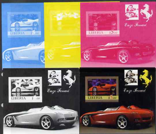 Liberia 2006 Enzo Ferrari #2 m/sheet, the set of 5 imperf progressive proofs comprising the 4 individual colours plus all 4-colour composite, unmounted mint