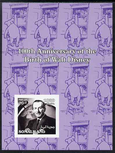 Somaliland 2002 Birth Centenary of Walt Disney #01 imperf m/sheet (lilac background with Winnie the Pooh) unmounted mint