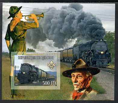 Djibouti 2007 Steam Trains #2 imperf m/sheet with Scouts in background unmounted mint