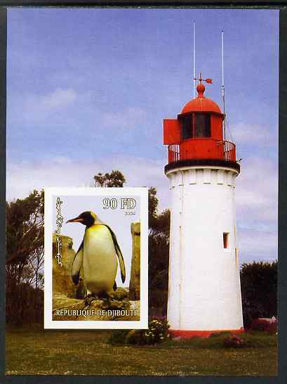 Djibouti 2004 Penguins #2 (Lighthouse in background) imperf m/sheet unmounted mint