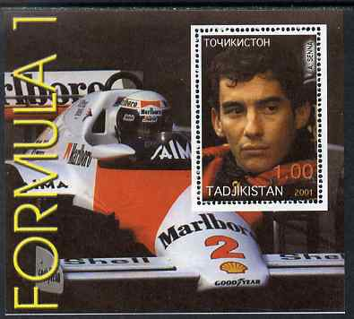 Tadjikistan 2001 Formula 1 perf s/sheet showing Ayrton Senna unmounted mint, stamps on cars, stamps on personalities, stamps on racing cars, stamps on formula 1, stamps on  f1 , stamps on cigarettes, stamps on tobacco, stamps on
