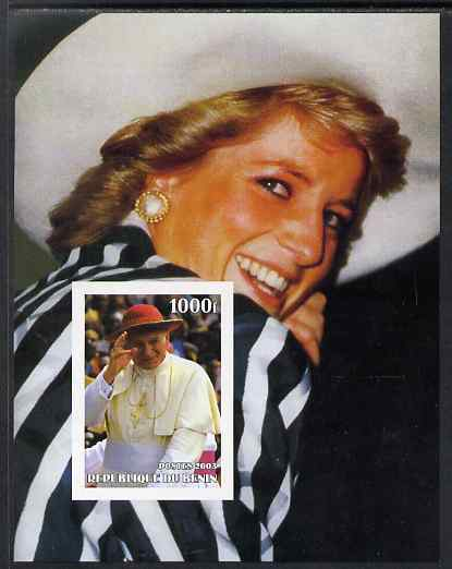 Benin 2003 Pope & Princess Diana #04 imperf m/sheet unmounted mint. Note this item is privately produced and is offered purely on its thematic appeal
