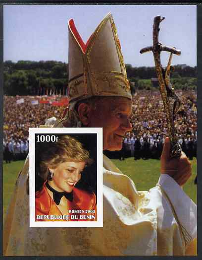 Benin 2003 Princess Diana & The Pope #2 imperf m/sheet unmounted mint. Note this item is privately produced and is offered purely on its thematic appeal, stamps on religion, stamps on pope, stamps on personalities, stamps on diana, stamps on royalty