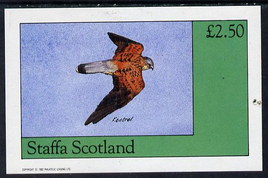 Staffa 1982 Birds of Prey #06 (Kestrel) imperf deluxe sheet (�2.50 value) unmounted mint, stamps on , stamps on  stamps on birds, stamps on  stamps on birds of prey