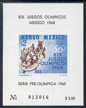 Mexico 1965 Olympic Games (1st Issue) imperf m/sheet showing Ball game unmounted mint without gum as issued, SG MS 1107