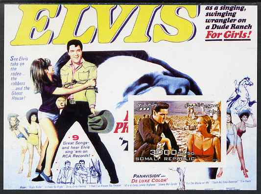 Somalia 2004 Elvis Presley #2 imperf m/sheet (film poster in background) unmounted mint. Note this item is privately produced and is offered purely on its thematic appeal
