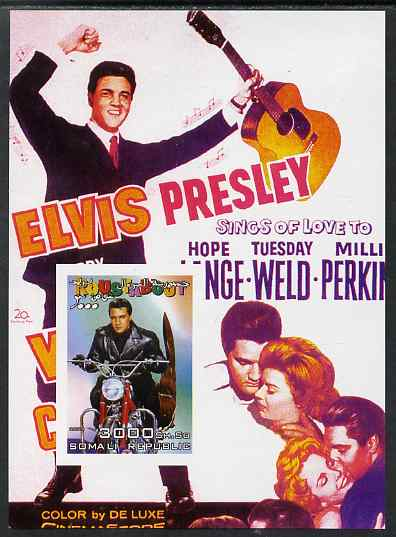 Somalia 2004 Elvis Presley #3 imperf m/sheet (film poster in background) unmounted mint