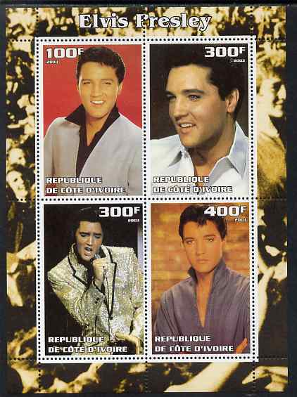 Ivory Coast 2003 Elvis Presley #1 perf sheetlet containing 4 values, unmounted mint. Note this item is privately produced and is offered purely on its thematic appeal